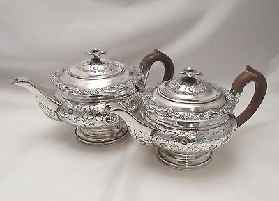 A Rare Graduated Pair of Old Sheffield Plate Tea Pots - c1830 - Floral Detailing