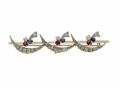 0.52 ct Diamond, 0.24 ct Ruby and Sapphire, 9 ct Yellow Gold Bar Brooch, Antique