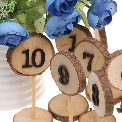 Rustic Wooden 1-10 Table Numbers Log Slices Stick Stand Wedding Party Decor
