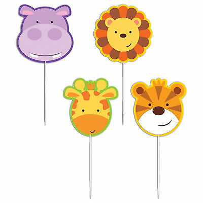 4 Jungle Friends Animals Children's Birthday Party Snack Pick Cake Candles