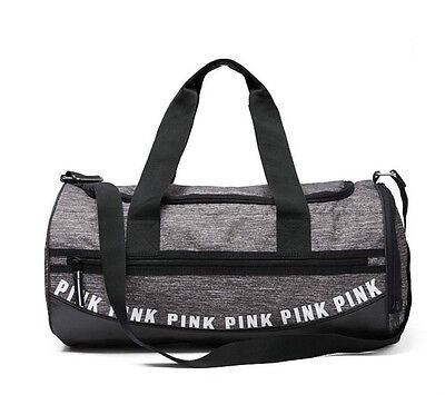 New VICTORIA'S SECRET PINK GYM TRAVEL SPORT ZIP DUFFLE BAG GRAY MARL Rare