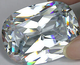 LARGE 14x10mm OVAL-FACET PURE-WHITE CUBIC ZIRCONIA GEMSTONE