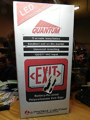 QUANTUM LITHONIA LED Lighted Exit Sign 120/277Volts With Battery Backup!
