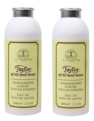 2x Taylor of old Bond Street Sandalwood Luxury Talcum Powder 100g Multibuy