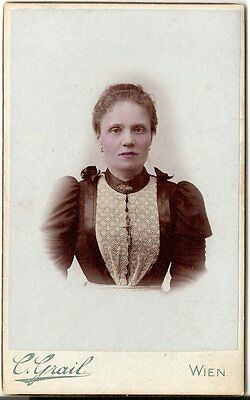 Coloriertes CDV photo Damenportrait - Wien 1890er
