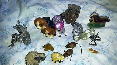 12 Assortment All Sizes All Kinds Animals Figurines Turtle Raccoons Puppies Etc