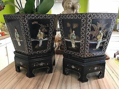 Pair Of Antique Vintage Chinoiserie Lacquered Chinese Planters On Stands