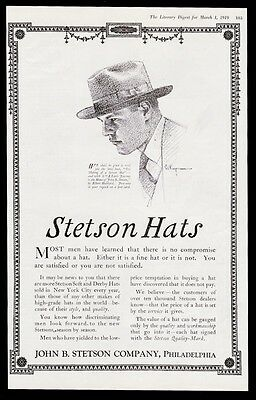 1919 John B Stetson man's hat illustrated vintage print ad