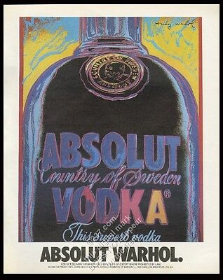 1986 Absolut Warhol Andy Warhol vodka bottle art vintage print ad