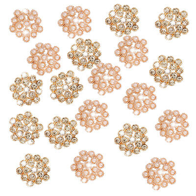 20pcs 20mm Alloy Pearl & Crystal Diamante Plum Blossom Buttons Golden Beige