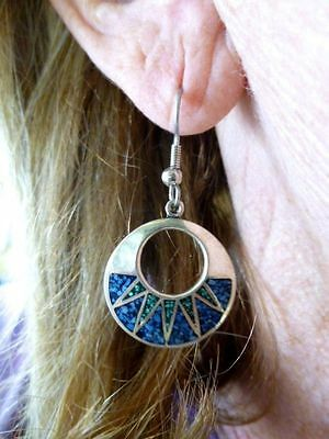 Authentic Vintage Sterling Silver Turquoise Inlaid Lapis & Turquoise Earrings