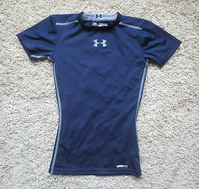 Under Armour Navy Blue/gray Fitted Heat Gear Upf50+  Boys Shirt Sz Youth Xsmall