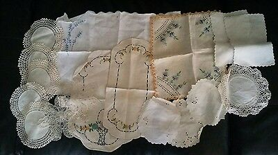 Absolutely Beautiful Hand Made  Embroidery Doilies Lot Antique
