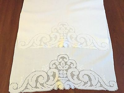 Antique Towels White Linen Mosaic Punchwork, Embroidery, Beautiful 22x 33""