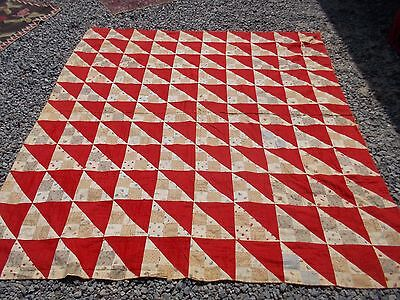 Antique Handmade Red White Pictorial Triangle Estate Quilt