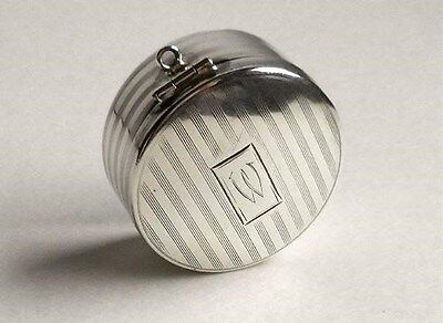 Antique Vintage Webster Stripped Sterling Silver Mirrored Pill Box W Monogram