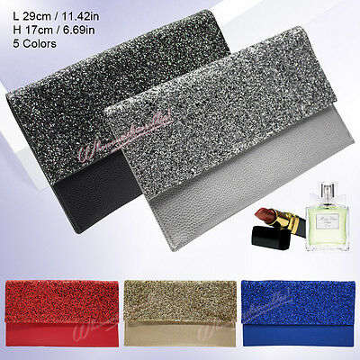 Lady Envelope Glitter Leather Clutch Shoulder Bag Handbag Women Pouch Purse UK