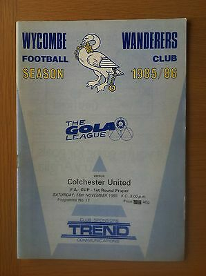 Wycombe Wanderers V Colchester United 1985-86