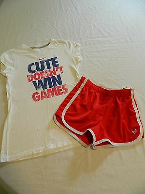 Justice / Nike Girls Cute Doesn't Win Games Short Outfit Size 10-12