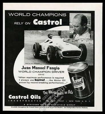1955 Juan Manuel Fangio and race car photo Castrol motor oil vintage print ad