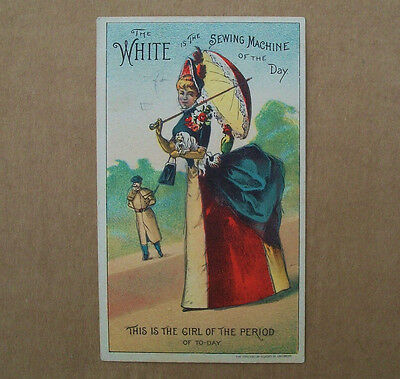 Vintage Beistle The WHITE is the Sewing Machine of the DAY VICTORIAN TRADE CARD