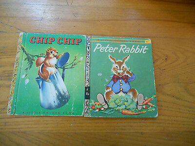 "Lot of 2 Vintage Books  PETER RABBIT & CHIP CHIP ""a Little Golden Book """