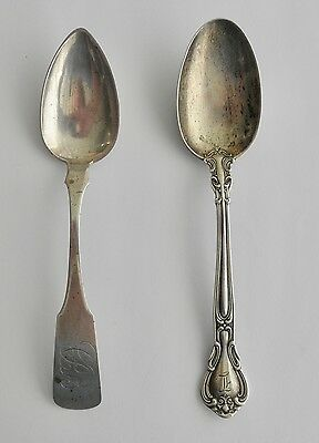 Antique Coin Silver Spoon & Gorham CHANTILLY Sterling Spoon w/Monograms