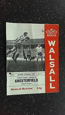 Walsall V Chesterfield. 1974-75