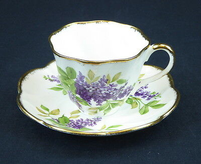 Salisbury Lilac Cup and Saucer Footed England Bone China Purple Green Gold Trim