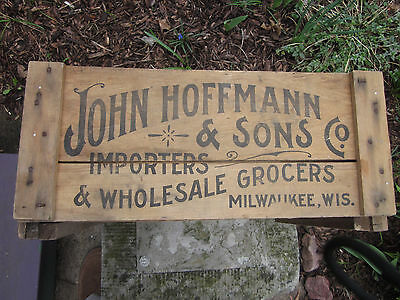 Vintage 1900's John Hoffmann Grocer Wood Advertising Crate Box Graphic Milwaukee
