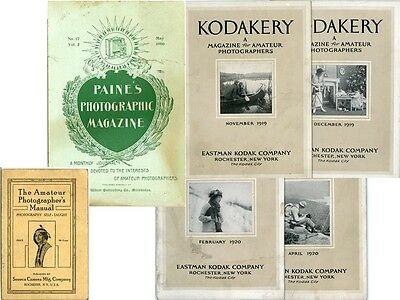 6 Amateur Photo Pubs 1900-1920: Seneca Camera book; Kodakery, Paine's Mags g75