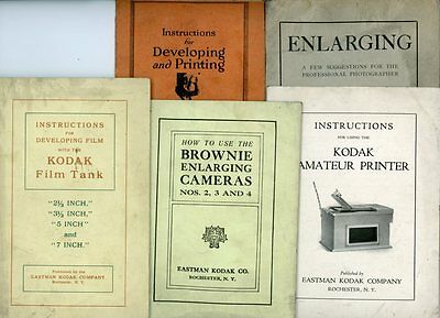 Lot of 5, 1917-1919 Printing, Enlarging & Developing Booklets: Kodak & Sears g77