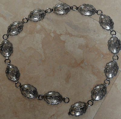 """Womens Vintage Silverplate Concho Style Belt 33"""""""