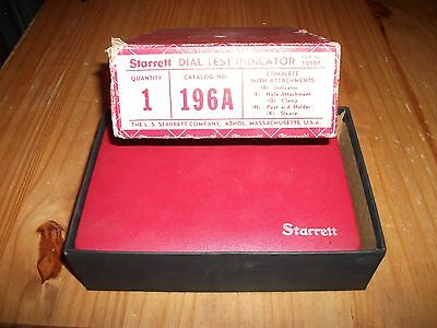 Very Nice Starrett Dial Test Indicator 196A Machinist Set Excellent Condition !