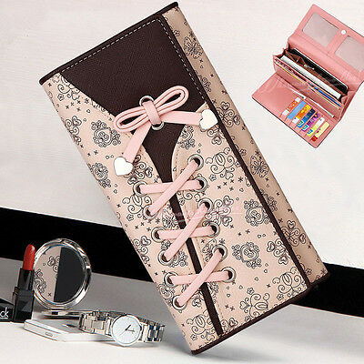 Long Card Phone Cash Holder Leather Bandage Bowknot Clutch Purse Wallet Handbag