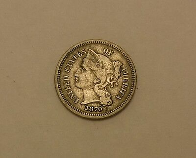 1870 3 CENT PIECE SILVER nice details NO RESERVE XF
