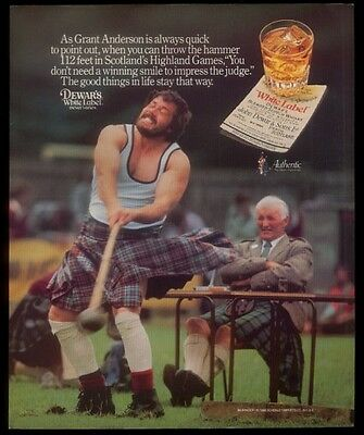 1986 Scotland Highland Games hammer throw photo Dewar's Scotch whisky print ad