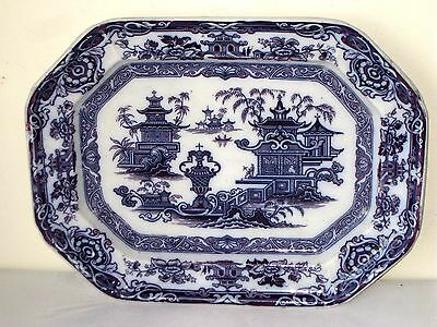 "18"" x 14"" LARGE ANTIQUE ""THE TEMPLE"" PW & Co. BLUE/WHITE STONE WARE PLATTER TRAY"