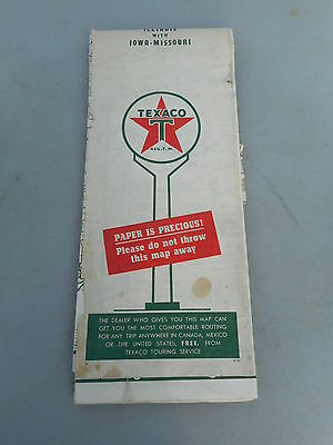 Vintage 1951 TEXACO Oil Gas Service Station Road Map ILLINOIS WITH IA & MO