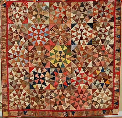 "OUTSTANDING Vintage 1870's ""Winding Ways"" Antique Quilt ~GORGEOUS FABRICS!"
