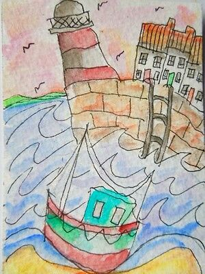 .ACEO original watercolour painting - Tide's in.