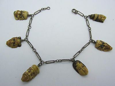 RARE Antique Japanese Gods Sterling Silver Charm Bracelet with 6 Carved Heads