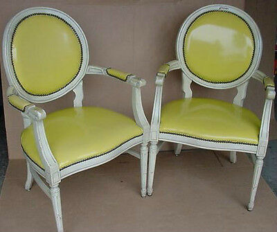 vintage dining side arm chairs french style and design faux leather and wood