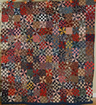 DAZZLING Vintage 1880's Shoofly Pinwheel 16-Patch Antique Quilt ~GREAT COLORS!