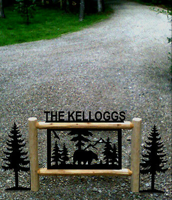 Clingermans Rustic Log Bear Sign-Gifts-Outdoor Signs-Lawn Decor-Wildlife Art*
