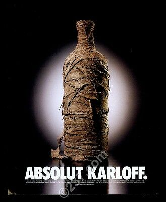 2000 Absolut Karloff Boris Karloff mummy wrapped vodka bottle vintage print ad