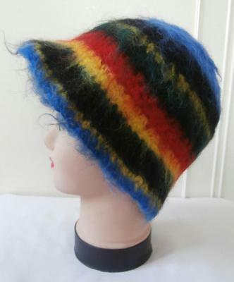 Vintage 1970's Blue, Yellow, Red, Green & Black Mohair Wool Cloche Hat by C&A