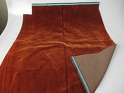 Antique French Millinery Velvet Fabric Cotton Silk Early 19 C Burnt Sienna