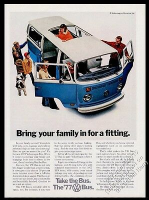 1977 VW Bus blue microbus photo Volkswagen vintage print ad