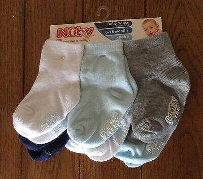 Boys Nuby 6 Pairs Of Socks  ~Size 6-18 Months~ (White/Blues/Grey)   NWT